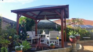 3.6 meter Gazebo with decking  and outdoor settings