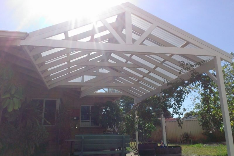 Twin Gable Timber Patio with Polycarbonate Roof