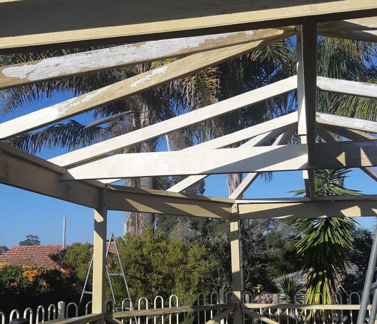Fill timber cracks with exterior grade filler then paint
